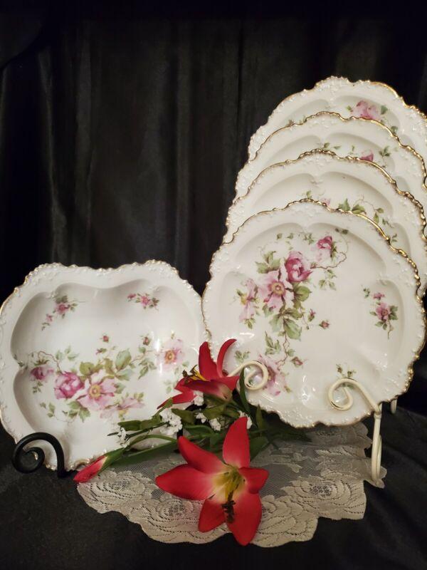 Antique Porcelain Dinner / Luncheon Plates & Vegetable Bowl Pink Roses - 5 Pcs