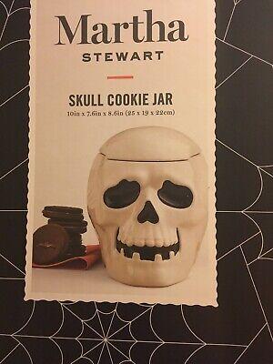 Martha Stewart Halloween Treat Boxes (Martha Stewart Skull Skeleton Cookie Jar Candy Treat Dish Halloween NEW IN)