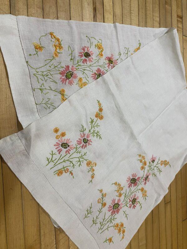 "Cross Stitch Crewel Flowers Table Runner Dresser Scarf Hand Made Vintage 42x15"""