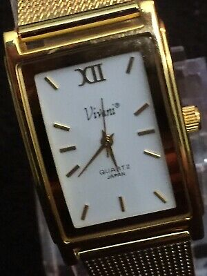 vivani ladies watch Rectangle Case,white Face Gold Dail,mesh Gold Color Band. Face Color White Band