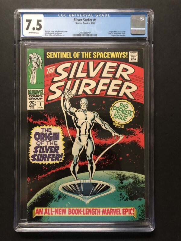 SILVER SURFER #1 (1968) CGC VF- 7.5 OW NICE COPY!