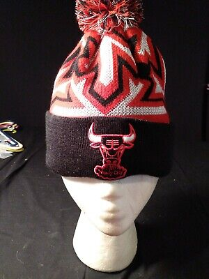 NBA Chicago Bulls Knit Striped Remix Hat New Era Beaniei Winter Cap Windy City