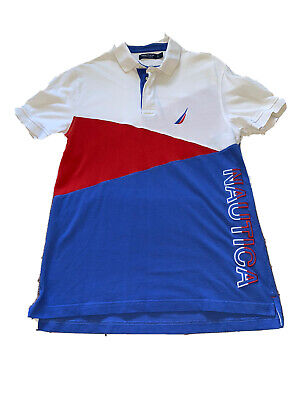 Nautica Mens Polo Shirt  Short Sleeve Size M Red White Blue