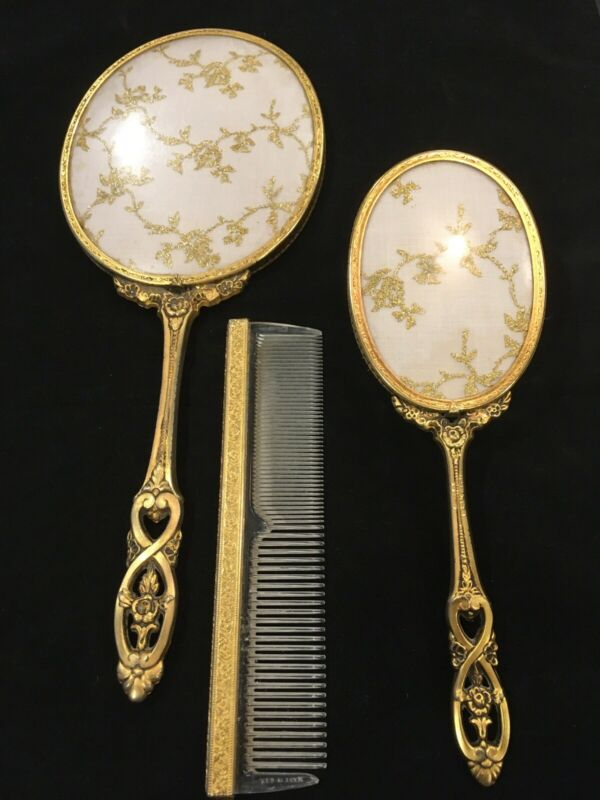 Brass Filigree Ormolu Dresser Vanity Set / Hand Mirror, Brush, Comb (GLOBE)