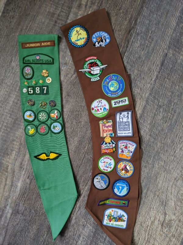 Girl Scout Brownie Sash Brown Green Patches