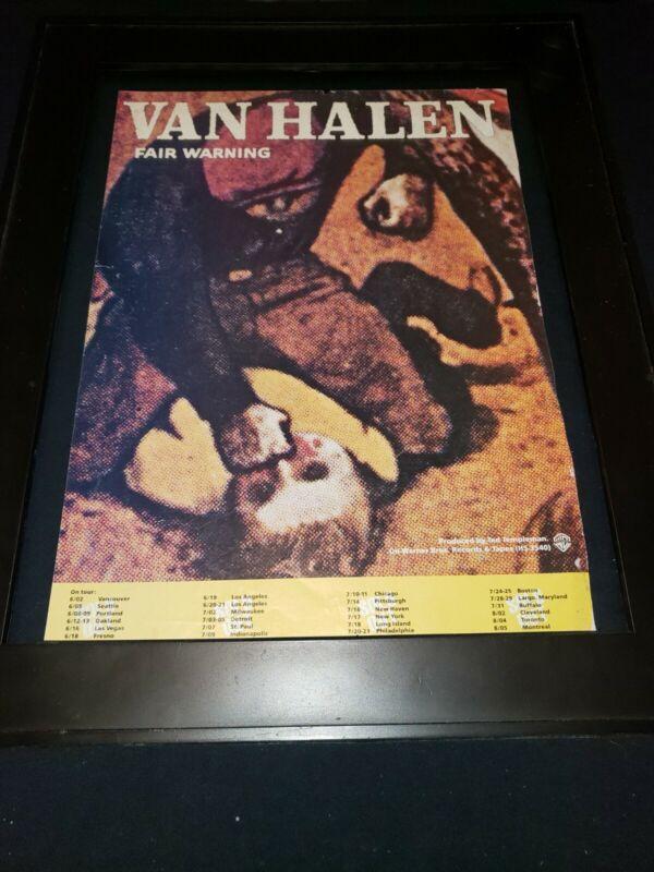 Van Halen Fair Warning Rare Original Promo Poster Ad Framed!