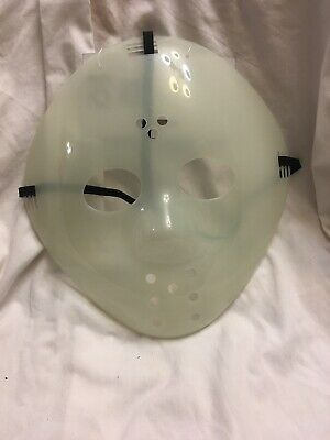 Clear Plastic Halloween Face Mask (Hockey Mask Jason mask- Clear/ Translucent  Friday The 13th Glow In The)