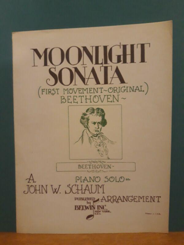 Beethoven Moonlight Sonata 1st Mvt Original Piano Solo Sheet Music 1946 Schaum
