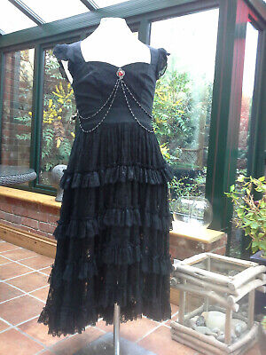 Spin Doctor black lace GOTHIC / steam punk jewel trimmed ladies dress size 14