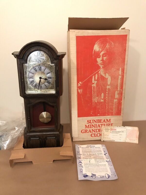 Vintage Miniature Electric Grandfather Clock By Sunbeam New old stock 1974!