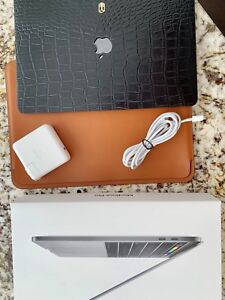 "MacBook Pro 13"" with apple Leather Sleeve and ELEMNT CO cover"
