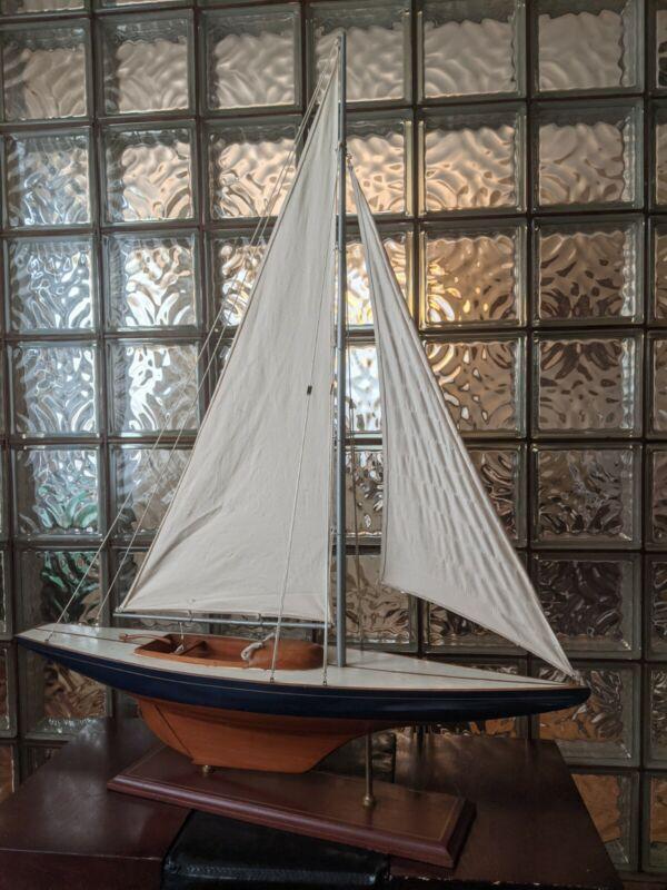 "LARGE Vintage hollow wood boat pond yacht Display Ship Sailboat model- 37""x44"""