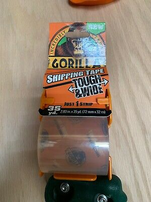 Gorilla Packaging Tape Tough Wide With Dispenser 2.83 X 35 Yd. Clear