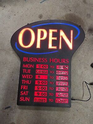 Newon Red And Blue Led Open Signlight With Hours Stickers Used Works