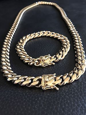 12mm Men Miami Cuban Link Bracelet & Chain Set 14k Gold Plated By Harlembling Co