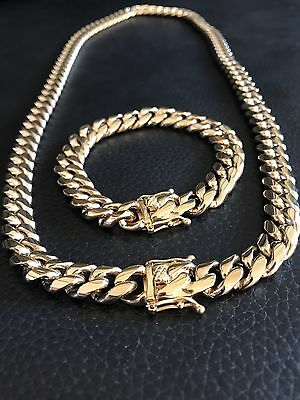 12mm Men Cuban Miami Link Bracelet & Chain Set  14k Gold Plated Stainless Steel