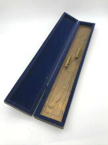 "Nautical Navigation Tool 24"" Brass Parallel Ruler in Box Antique, Kelvin Hughes"