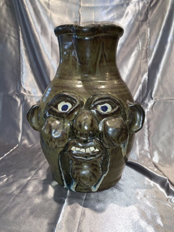 Extra large Signed Grace Hewell Pottery Gillsville , Ga Face Jug