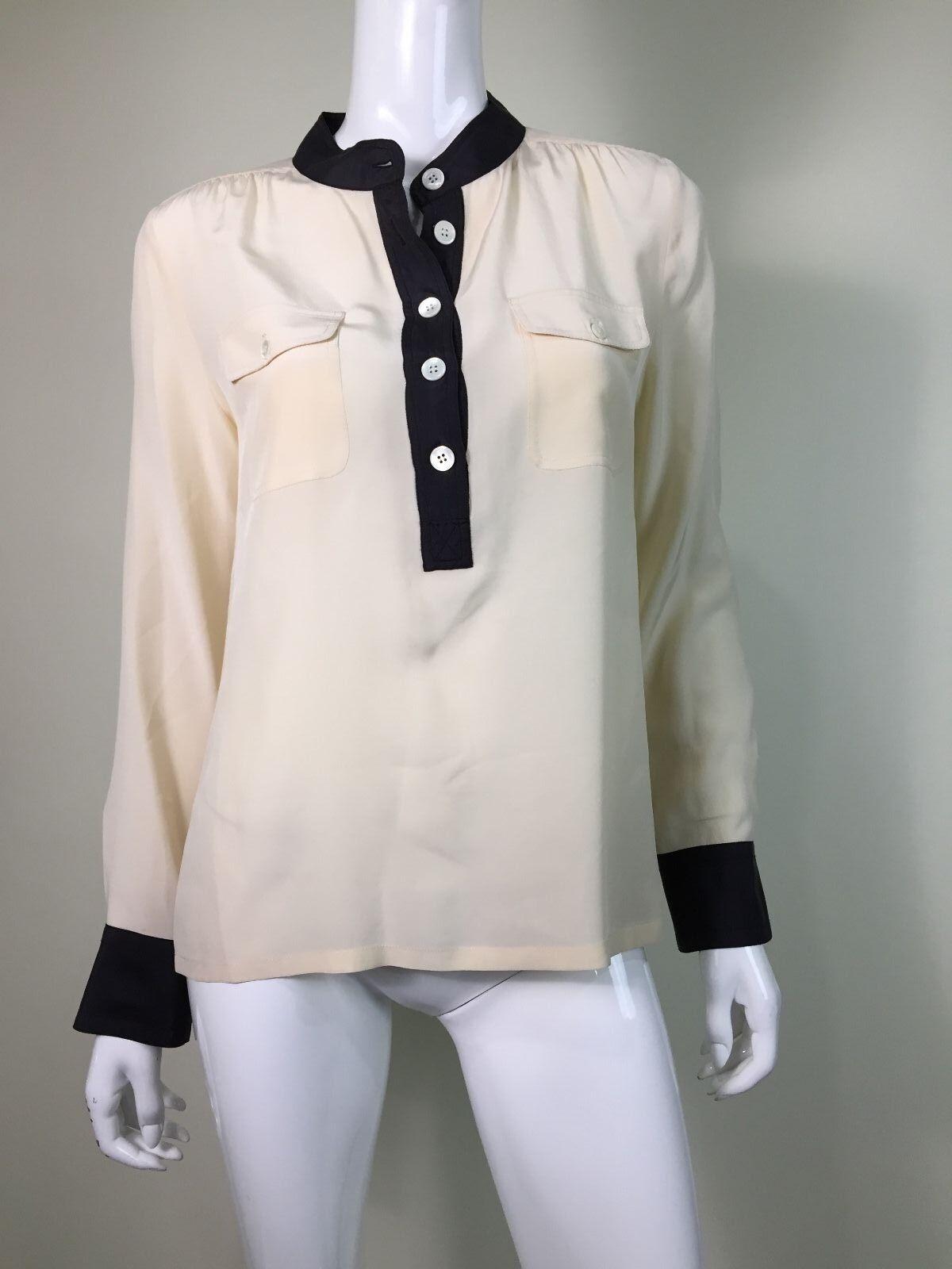 Изображение товара J. Crew Women's White Black Silk Long Sleeve Button Front Blouse Top Shirt SZ 6