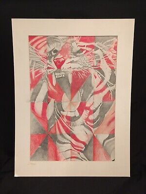 2001 Original Art Drawing Scholastic Arts Entry of Tiger by E. Deahl 10th Grade