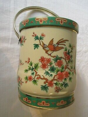 Vintage Daher Tin England Handle Floral Bird Cream Green Pink