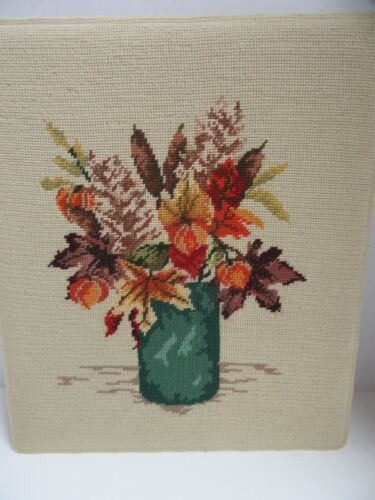 Finished Needlepoint Vintage Autumn Leaves Harvest Bouquet Completed 14x17