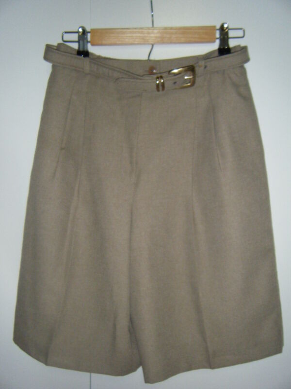 PATCHINGTON SIZE 8 LINED PLEATED DARK TAN SHORTS 2 SIDE POCKETS BELTED WORN ONCE