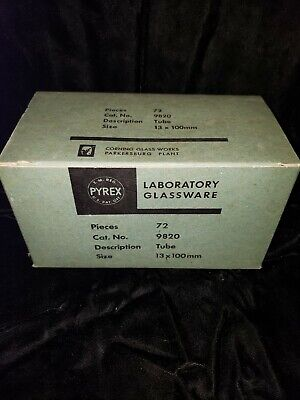Vintage Pyrex Laboratory Glassware Box Of 72 Tubes 13 X 100mm New Old Stock