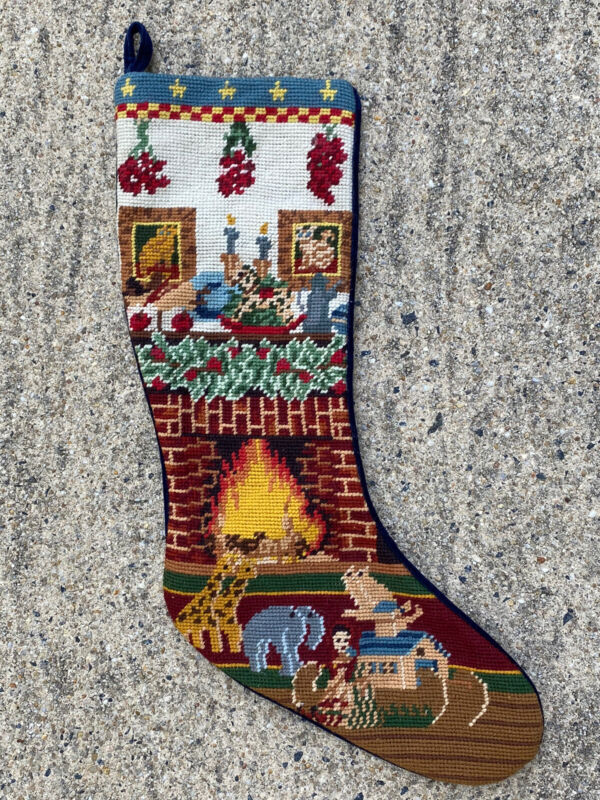 "Vintage Needlepoint Christmas Stocking Fireplace Toys Velvet Back 19"""