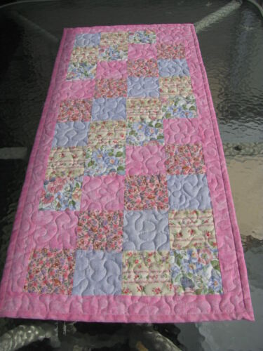 """Hand Made Quilted Table Runner Table Topper Spring Easter Reversible 16"""" x 36"""""""