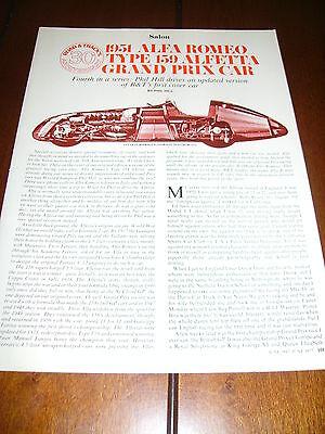 1951 ALFA ROMEO TYPE 159 GRAND PRIX RACE CAR ***ORIGINAL 1977 ARTICLE***