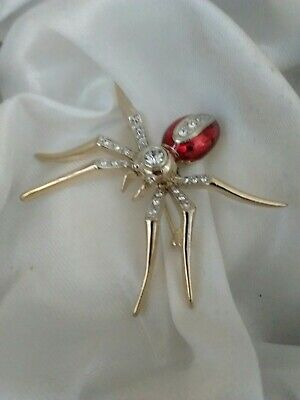 Vintage Sparkly Glass Red Enamel Spider Gold Tone Spooky Halloween Brooch Pin