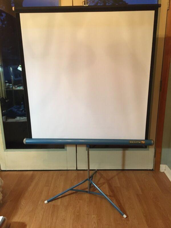 "Vintage Da-Lite Flyer Portable Projector Screen Tri-Pod Blue 40"" x 40"""