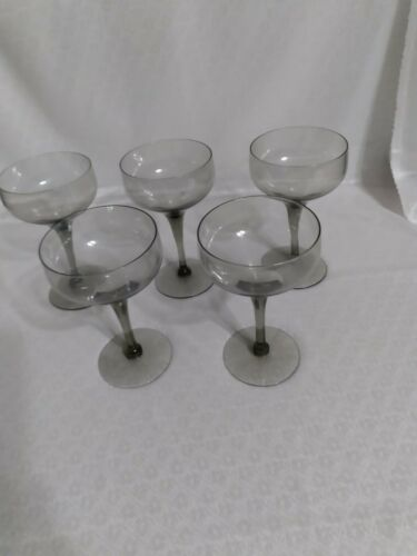 VINTAGE SMOKY GRAY CHAMPAGNE COUPE GLASSES  FOR TOASTING SHERBET Set of 5