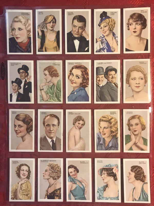 1935 GALLAHER-STARS OF SCREEN & STAGE-FILM STARS-GREEN BACKS-F/48 CARD SET-VG-EX