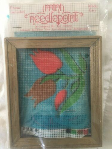 Vogart Crafts Vintage Mini Needlepoint Kit Frame Included Tulips Made Easy NIP
