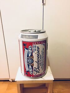 VINTAGE BUDWEISER BEER CAN MINI FRIDGE MAN CAVE DISPLAY ITEM