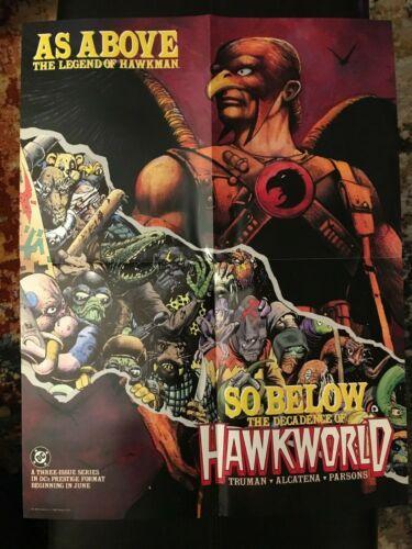 "VINTAGE HAWKWORLD COMIC PROMO POSTER 22"" X 17"" 1989, HAWKMAN, TIM TRUMAN"