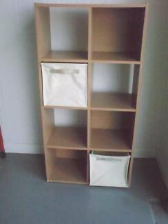 Pine effect Storage unit x 8 box shelves with two inserts