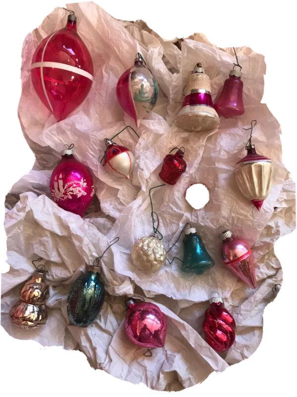 Vintage Lot GLASS Christmas Ornaments Antique Teardrop Fruit