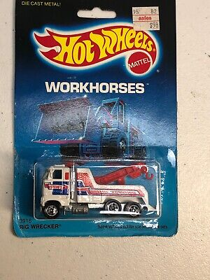 1986 Hot Wheels Workhorses on Card # 3916 Rig Wrecker Steve's Towing
