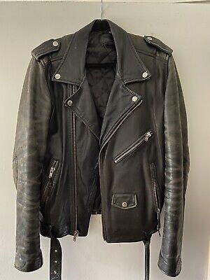 Blk Dnm Biker Leather Jacket Size Medium Worn In UO Beatdown Schott Style