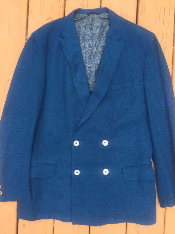 Men's VTG 60's SPORTCOAT Jacket Turquoise Weave British Tailor Double Breast 40R