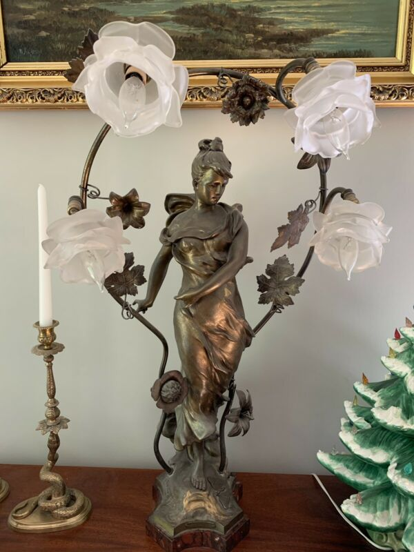 Antique Art Nouveau Spelter French Figural Newel Post Statue Lamp