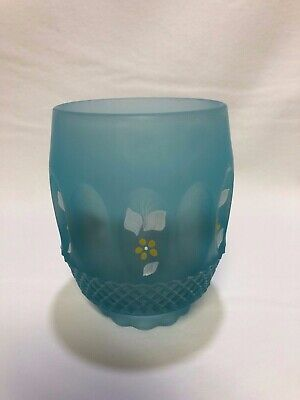 Vintage Westmoreland Frosted Blue Glass Fairy Lamp SHADE ONLY Hand Painted