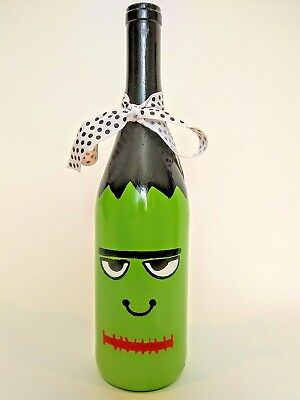 Halloween Hand Painted Frankenstein Home Decor Wine Bottle