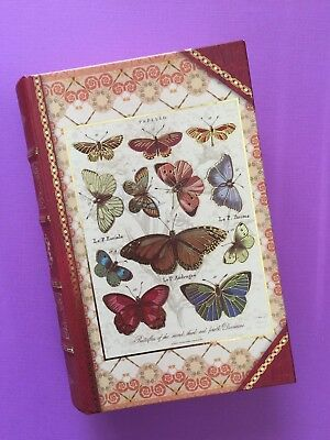 INSECTS. BUTTERFLY. Decoupage faux Book Box.Trinket. Jewelry. SECRET COMPARTMENT