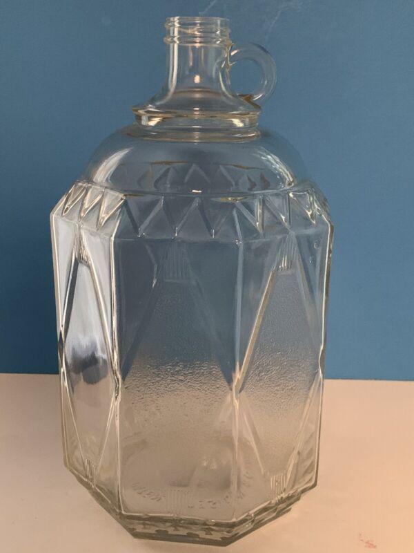 "Vintage Large 11 3/4"" Fancy Clear Glass Jug Patent Design 80709 - Diamonds/Sides"