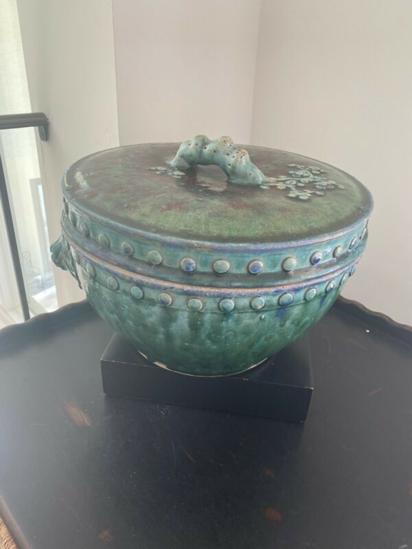 Asian Antique  Lid Clay Pot With Handle