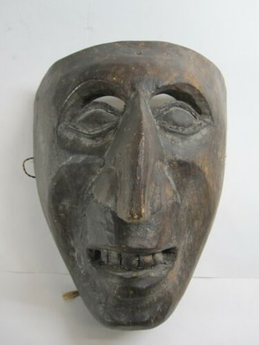 Antique Vintage Hand Carved Wooden Wood Mask